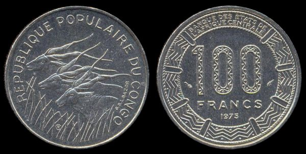 CONGO PEOPLES REPUBLIC, 100 francs, 1975