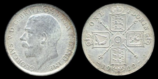 GREAT BRITAIN, 1 florin, 1922