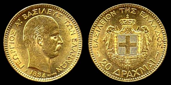 GREECE, gold, 20 drachmai, 1884 A