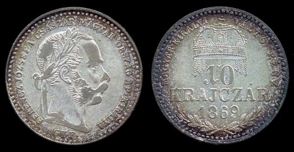 HUNGARY, 20 krajczar, 1869 GYF