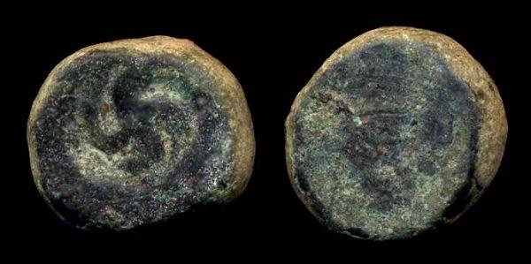 PUSHKALAVATI, copper 1/4 karshapana, c.185-160 BC
