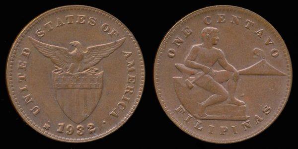 PHILIPPINES, 1 centavo, 1932