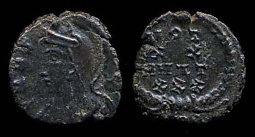 ROMAN EMPIRE,  307-37 AD and later, billon reduced centenionalis, URBS ROMA / VOT mule