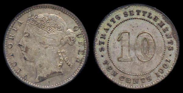STRAITS SETTLEMENTS, 10 cents, 1901