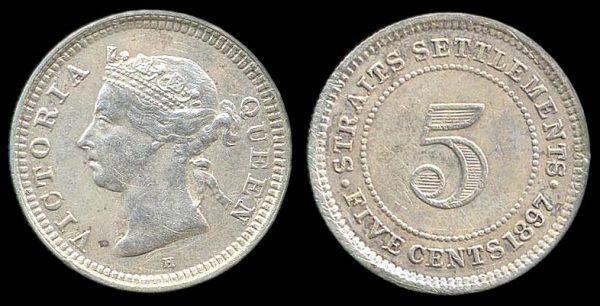 STRAITS SETTLEMENTS, 5 cents, 1897 H