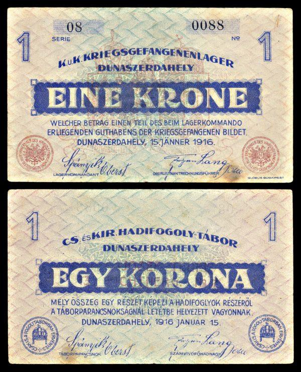 AUSTRIA, DUNAZERDAHELY Prisoner of War Camp, 1 krone, 15.1.1916