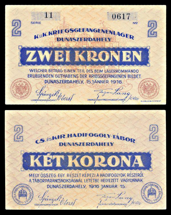 AUSTRIA, DUNAZERDAHELY Prisoner of War Camp, 2 kronen, 15.1.1916