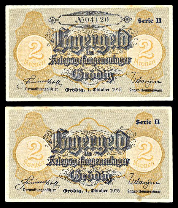 GRODIG POW CAMP 2 kronen note 1915