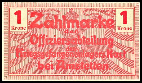 AUSTRIA, HARTH bei AMSTETTIN Prisoner of War Camp, 1 krone