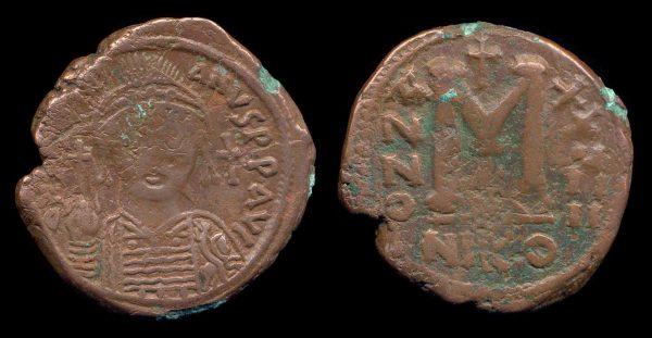 BYZANTINE, Justinian I, 527-565 AD, follis,