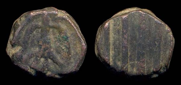 KIDARITE, Taxila anonymous series, 5-6th c. AD, bronze unit,