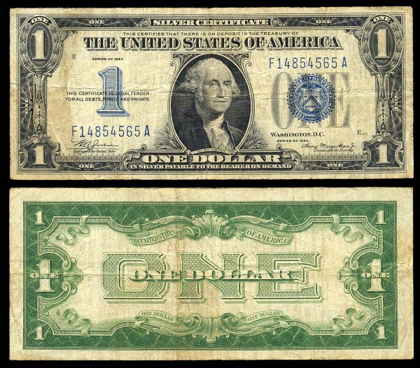 USA, 1 dollar, 1934, P414, funny back