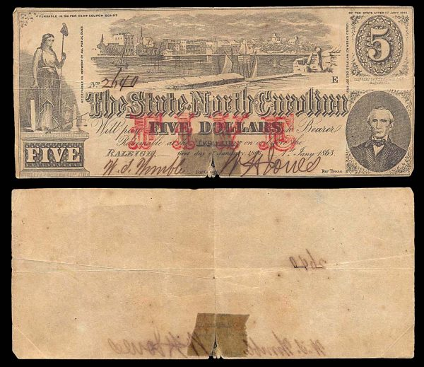 USA, NORTH CAROLINA, 5 dollars, 1.1.1863, P-S2369