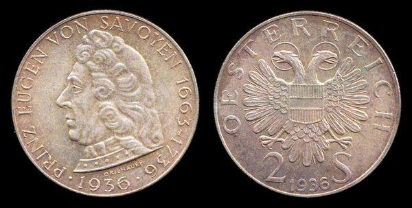 AUSTRIA, 2 schilling, 1936