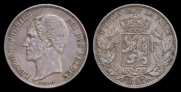 BELGIUM, 5 francs, 1853