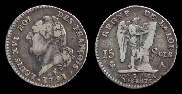 FRANCE, 15 sols, 1791 A