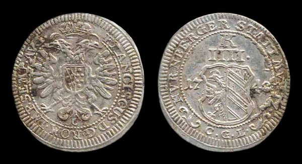 GERMANY, NÜRNBERG, 4 kreuzer, 1748