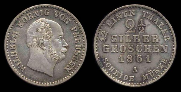 GERMANY, PRUSSIA, 2 1/2 silbergroschen, 1861 A