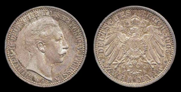 GERMANY, PRUSSIA, 2 mark, 1905 A
