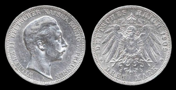 GERMANY, PRUSSIA, 3 mark, 1909 A