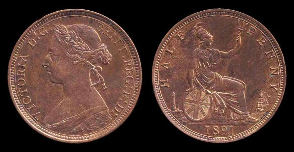 GREAT BRITAIN, halfpenny, 1891