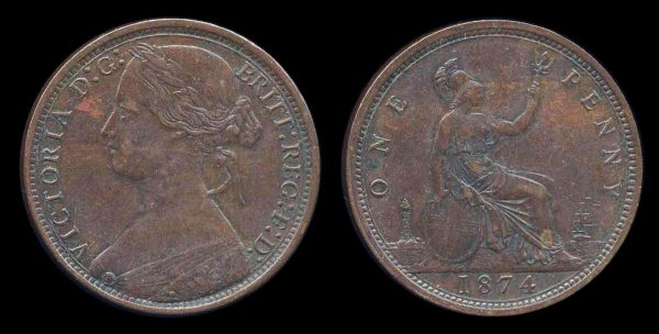 GREAT BRITAIN, 1 penny, 1874 H