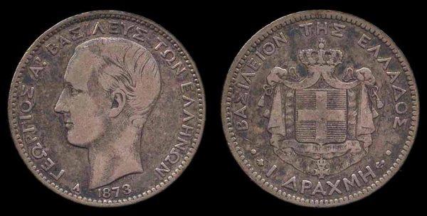 GREECE, 1 drachma, 1873 A