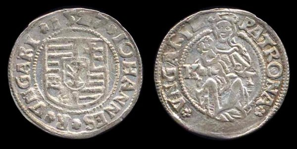 HUNGARY, John I Zapolya of Transylvania, denar, 1527 KT