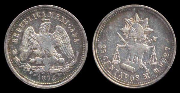 MEXICO, 25 centavos, 1874 MoM