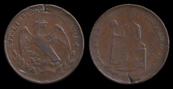 MEXICO, 1/4 real, 1862, Hermosillo mint