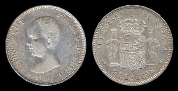 SPAIN, 5 pesetas, 1889