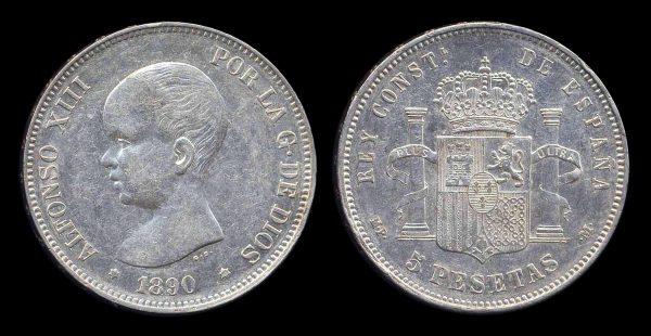 SPAIN, 5 pesetas, 1890 M PM