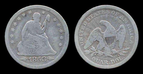 USA, 25 cents, 1853