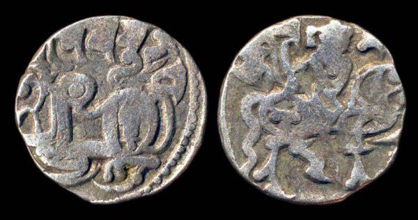 ANONYMOUS POST-SHAHI, bull and horseman jital, circa 900-1200 AD