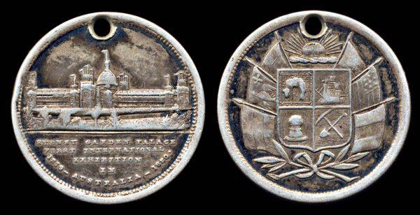 AUSTRALIA, silver medallet, 1880, Sydney Garden Palace