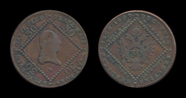 AUSTRIA, copper 30 kreuzer, 1807 B, Kremnitz mint