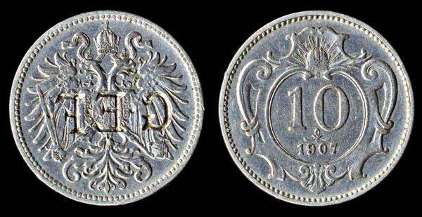 AUSTRIA, altered coin, 1907
