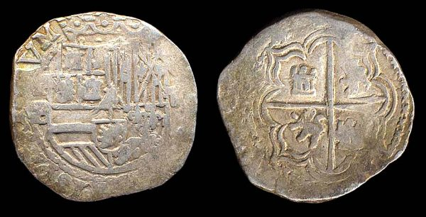 BOLIVIA, Felipe II, 1556-98, silver 2 reales, no date, assayor B
