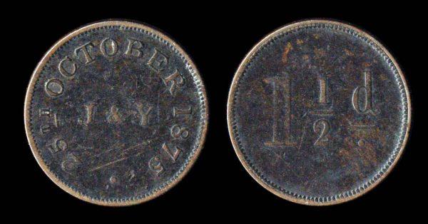 BRITISH HONDURAS copper token, 1875