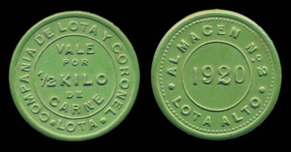 CHILE, vulcanite token 1920,