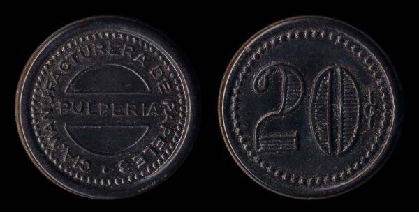 CHILE, vulcanite  token (1921-23)