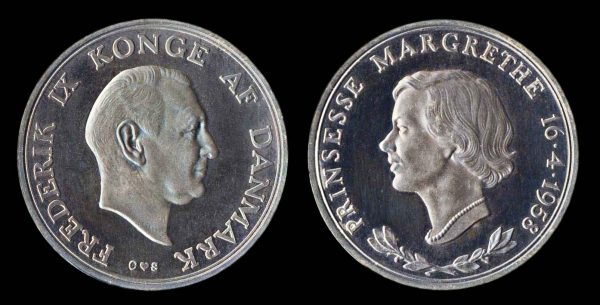 DENMARK, silver medal for marriage of Princess 1958