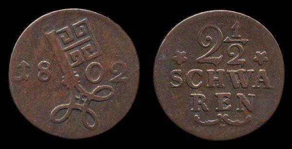 GERMANY, BREMEN, 2 1/2 schwaren, 1802