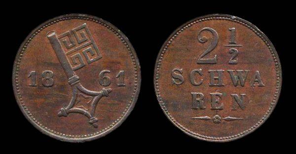 GERMANY, BREMEN, 2 1/2 schwaren, 1861