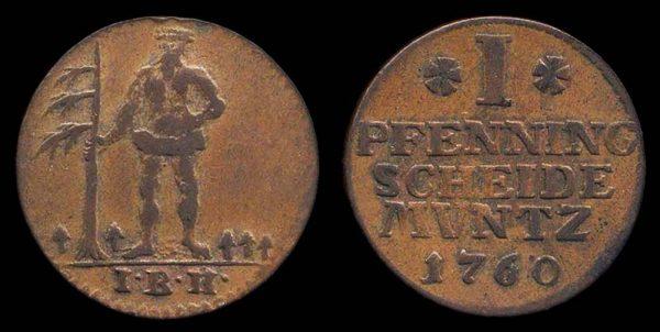 GERMANY, BRUNSWICK-LUNEBURG-CALENBERG-HANNOVER, 1 pfennig, 1760I BH, Zellerfeld mint