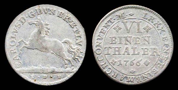 GERMANY, BRUNSWICK-WOLFENBUTTEL, silver 1/6 thaler, 1766 I DB
