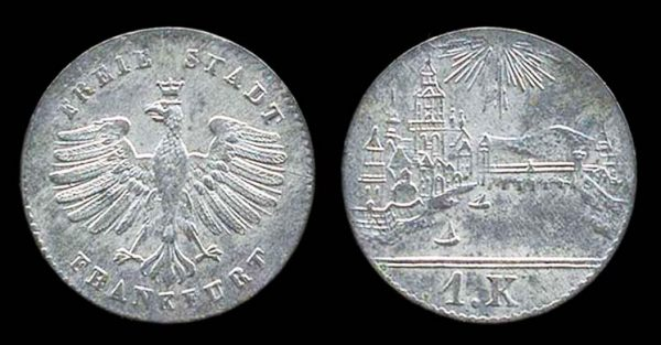 GERMANY, FRANKFURT, 1 kreuzer, no date (1839 AD)
