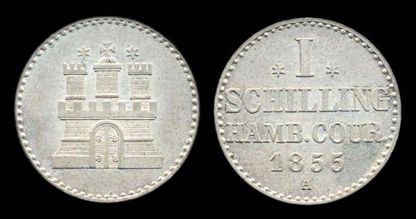 GERMANY, HAMBURG, 1 schilling, 1855A