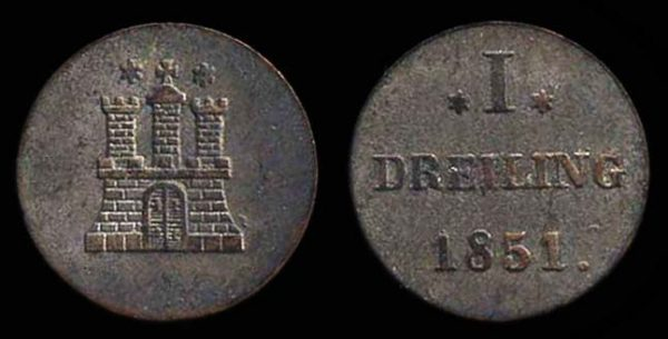 GERMANY, HAMBURG, 1 dreiling, 1851