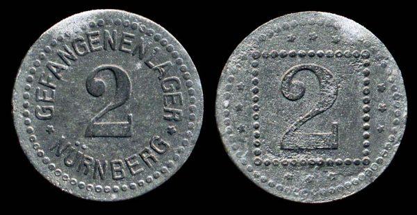 GERMANY, zinc, NÜRNBERG Prisoner of War Camp, token, 1915-18